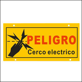 spanish electric fence warning sign